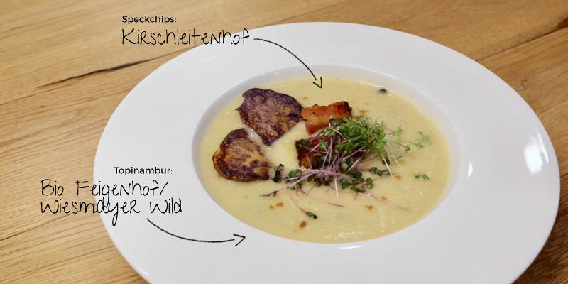 Topinambur Suppe Beluga Linsen Speck Chips Kirschleitenhof Wiesmayer Feigenhof