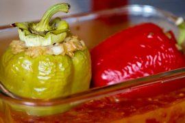 Gefüllte Paprika Paradeiser Tomaten AbHof Rezept