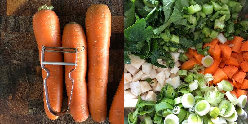 Gemüsepaste Suppengemüse Karotten Sellerie Zwiebel Rezept schälen schneiden
